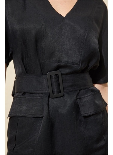 Setre Bej Kuşaklı Ve Cepli Elbise Siyah